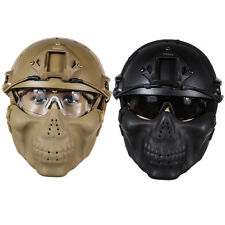 Military Tactical Gear Airsoft Paintball Fast Helmet w/ Protective Goggle + Mask
