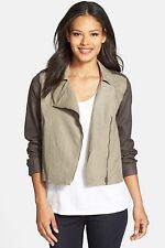 NWT Eileen Fisher Coated Organic Linen Moto Jacket Asymmetric Zip Stone $258
