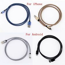 1M Braided Aluminum Micro USB Data Sync Charger Cable Cord for Android iPhone 6