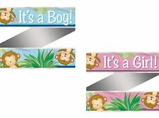 12ft Blue Pink Monkey Its a Boy Girl Baby Shower Party Foil Banner Decoration