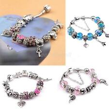 Fashion DIY Silver Heart Fish European Beads Charms Rhinestone Women Bracelet