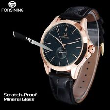 Casual Men Genuine Leather Band Automatic Self-Wind Mechanical Wrist Watch Gift