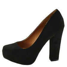 Qupid Trish 01 Black SU Women's Square Toe Chunky Heel Pump