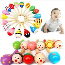 1-10X Wooden Wood Maraca Rattles Shaker Percussion Kid Baby Musical Toy Gift