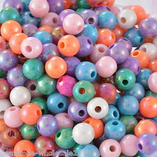 """Wholesale Lots Mixed AB Color Round Acrylic Spacer Beads 8mm(3/8"""") Dia."""