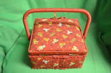 Red Square Sewing Basket Box with Contents Teddy Design Fabric