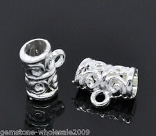 Wholesale Mixed Lots Silver Plated Pattern Carved Bail Beads 11x5mm