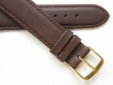 Brown plain XL Quality stitched genuine leather watch band
