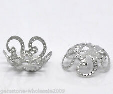 Wholesale Lots Silver Tone Flower Bead Caps Findings 10x4mm