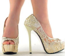 Women Party New Platform Glitter Shoes Lace Open Toes Wedding High Heels Sandals