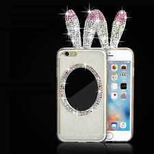 Luxury Rabbit Bling Crystal Ears Back Mirror Cover Case For iPhone 6 6s Plus