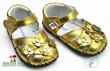 "Freycoo ""Posy"" Gold Girls Soft Sole Leather Shoes 6 to 24 months Baby Toddler"