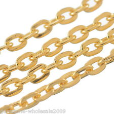 Wholesale Lots Gold Plated Link-open Cable Flat Chain Finding Necklace 3x2.5mm