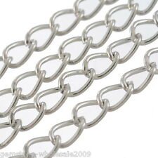 Wholesale Lots Bright Silver Tone Links-Opened Curb Chains Necklace 5.5x3.5mm
