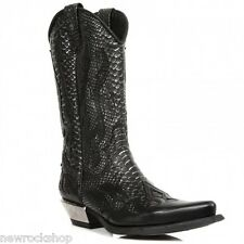 Newrock 7921 C2 New Rock Black Silver Leather  Western Snake Cowboy Biker Boots