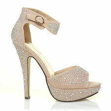 Ankle Strap Diamante Platform Wedding Sandals Heels Peeptoe Shoes US UK Size 3-8