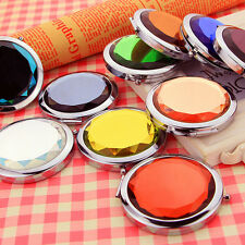 Fashion Mini Stainless Travel Compact Pocket Crystal Folding Makeup Mirror EV