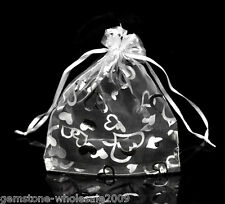 Wholesale NEW 13x16cm White Love Heart Organza Wedding Gift Bags & Pouches