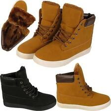 Womens Ladies Warm Fur Lined Hi Top Trainers Lace Up Ankle Casual Boots Shoes