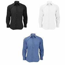 Russell Collection Mens Long Sleeve Poly-Cotton Easy Care Tailored Poplin Shirt