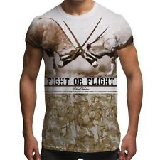 Fight Or Flight Gazelle Retro All Over Print Army Desert Camouflage Mens T Shirt