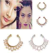 Premium Non Piercing Crystal Septum Clip On Fake Nose Hoop Ring Body Jewelry UK