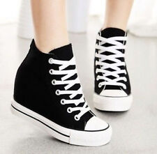 Womens Hidden Wedge Pump Sneakers Canvas Lace Up Trainers Sport High-Top Shoes