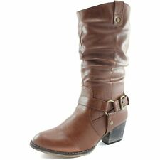 Tan Brown Boots New Womens Ladies Western Cheap Cowboy Cowgirl Mid-Calf Buckle