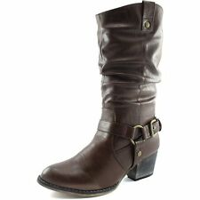Solid Brown Boots New Women Ladies Western Cheap Cowboy Cowgirl Buckle Mid-Calf