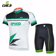 CHEJI Team Mens Summer Clothing Cycling Jersey Bike (Bib) Shorts Set Green-White