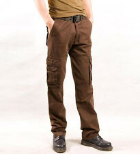 Mens Multi pocket hip-pop Combat Military Army Soild Cargo Pants Casual Trousers