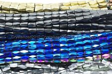 100 Natural Magnetic Hematite Gemstone Faceted Tube Beads 5x8mm Metallic Color