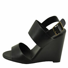 Bamboo Whimsical 05M Black Women's Double Band Wedge Sandal