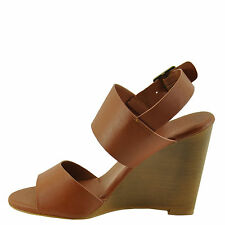 Bamboo Whimsical 05M Chestnut Women's Double Band Wedge Sandal