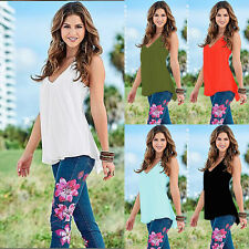 Summer Women Sexy Fashion sleeveless Loose Vest T Shirt Casual Tops Blouse WY