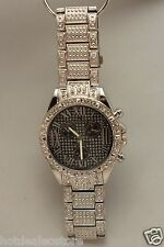 Very Shiny - Men's Blingster Silver Tone with Crystals Large Size Watch - 5117