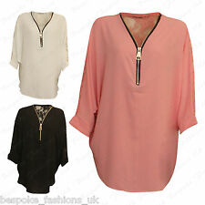 Ladies Women's Curved Hem Floral Lace Back Zip V Neck Baggy Batwing Top 14-28