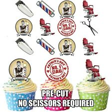 Fathers Day Barber Themed - Fun Fully Edible Cup Cake Toppers Decorations