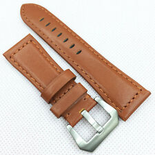 24mm 120/75 Orange Waxy Calf Leather Strap Silvery Brushed Screw Pre-V Buckle