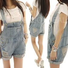 Good Lady Casual Washed Denim Hole Jeans Jumpsuit Overall Short Gallus Pants 66