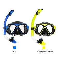 Adult Scuba Snorkel Swim Tempered Glass Mask Goggles+Full Dry Snorkel Tube Z1S8