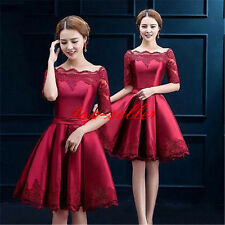 Red Women Grils Evening Dress Bride Mid Sleeve Toast Lace Trim Wedding Dress New