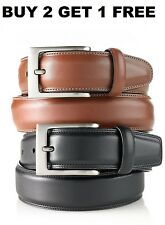 Men's New Genuine Leather Belt w/ Buckle Black Brown Casual Dress Size S M L XL