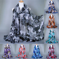 Women's Fashion Flower Long Scarves Soft Wrap Shawl Voile Scarf Neck Stole Scarf