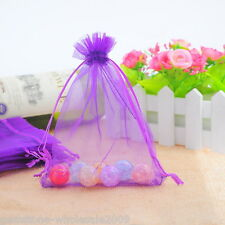 Wholesale NEW 13x16cm Dark purple Drawable Organza Wedding Gift Bags&Pouches