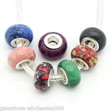 """Wholesale Lots European Charm Spacer Beads Round Mixed 14mmx9mm(4/8""""x3/8"""")"""