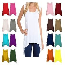 Lz78 New WOMEN HANKY HEM LADIES LONG SLEEVELESS SCOOP NECK VEST TOP FLARED SWING