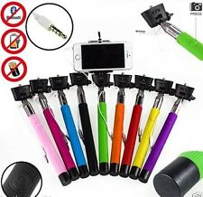 Monopod Selfie Stick Telescopic Wired Built In Button Remote Mobile Phone holder