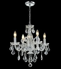 "5-light Clear Crystal chandelier chrome /gold pendant lamp D:21""xH:22"""