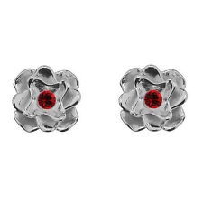 FASHIONS FOREVER® 925 Silver 3D Rose Stud Earrings made with SWAROVSKI® Elements